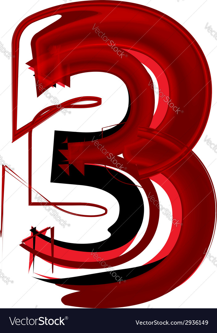 Artistic font number 3 vector | Price: 1 Credit (USD $1)