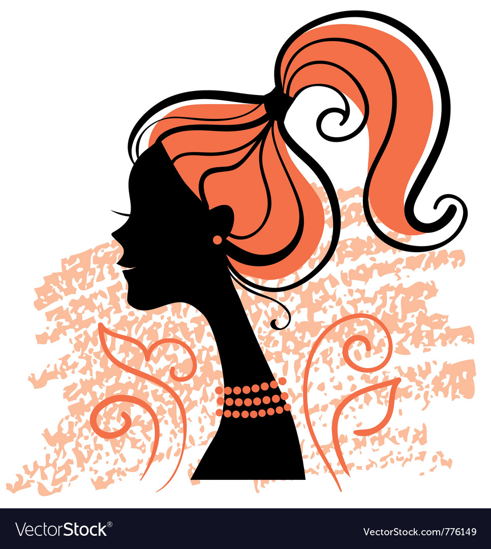 Beautiful girl silhouette vector | Price: 1 Credit (USD $1)