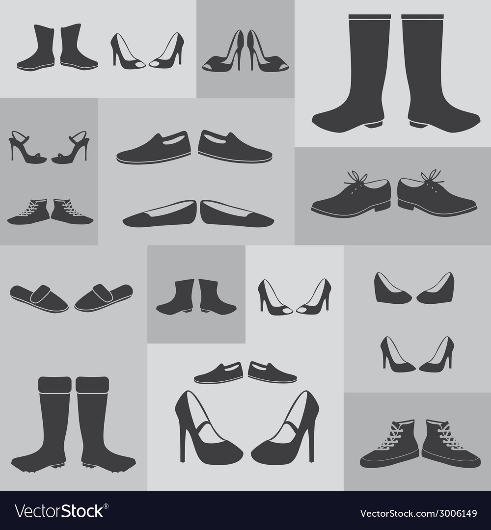 Black boots and shoes on gray background eps10 vector | Price: 1 Credit (USD $1)