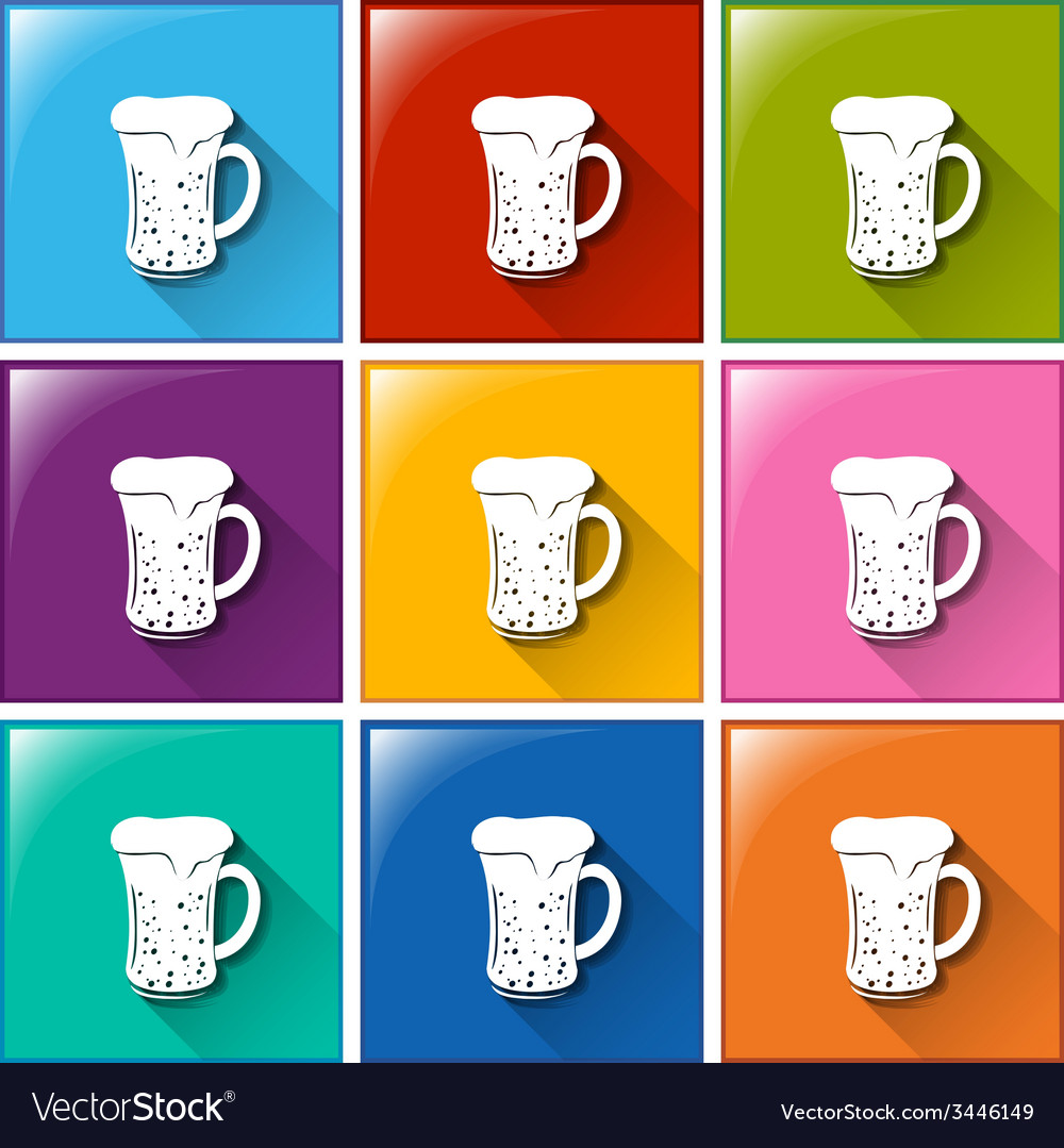 Buttons with mugs of beer vector | Price: 1 Credit (USD $1)