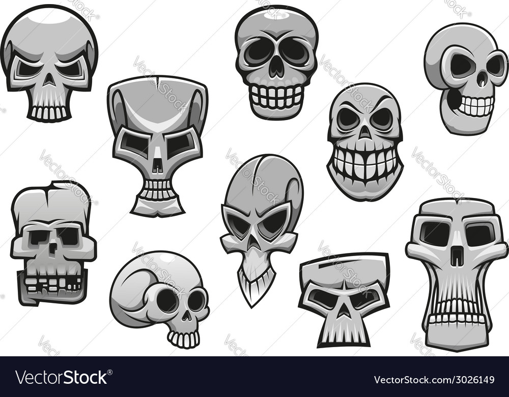 Cartoon human scary halloween skulls vector | Price: 1 Credit (USD $1)