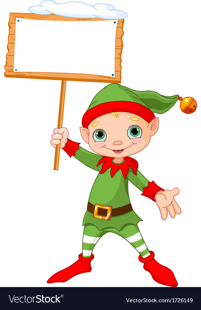 Christmas elf with sign vector | Price: 1 Credit (USD $1)