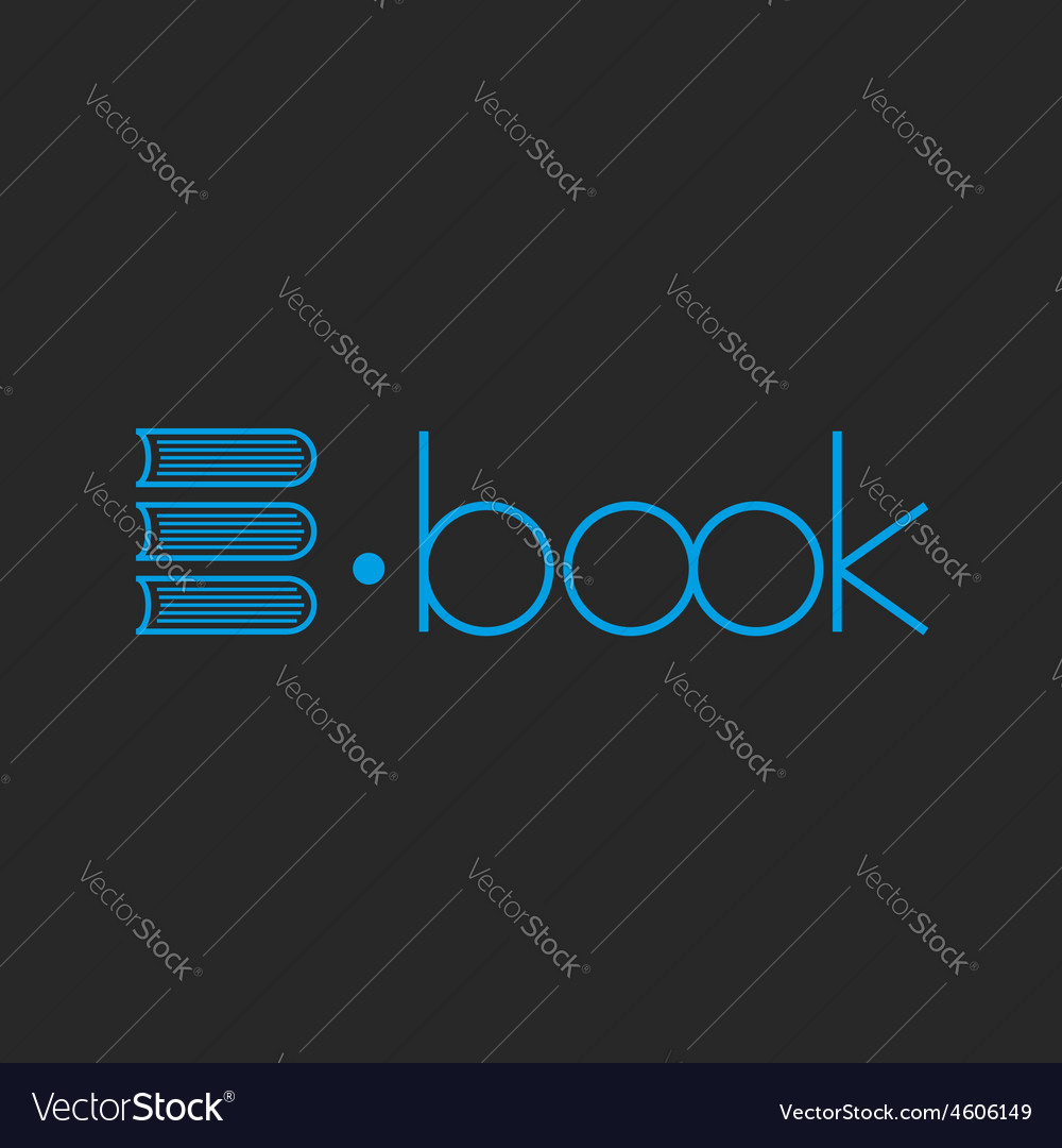 E-book logo abstract letter e of books mockup shop vector | Price: 1 Credit (USD $1)