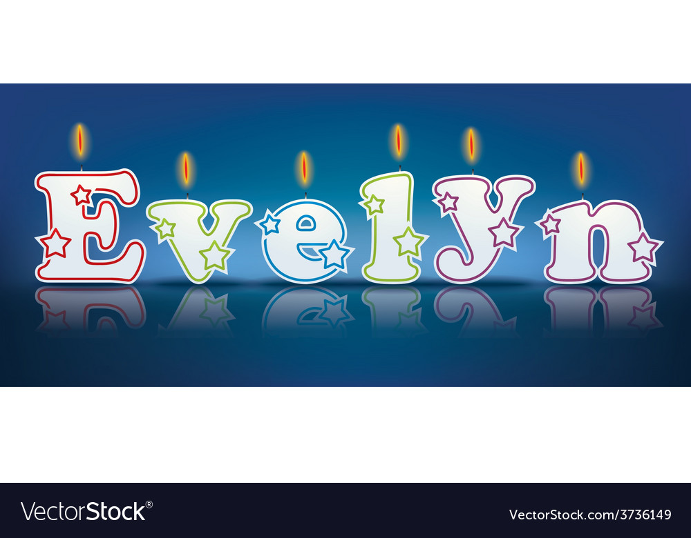 Evelyn written with burning candles vector | Price: 1 Credit (USD $1)