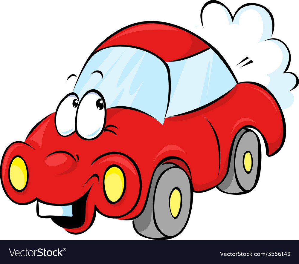 Funny red car cartoon vector | Price: 1 Credit (USD $1)