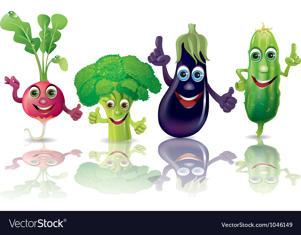 Funny vegetables radishes broccoli eggplant vector | Price: 3 Credit (USD $3)