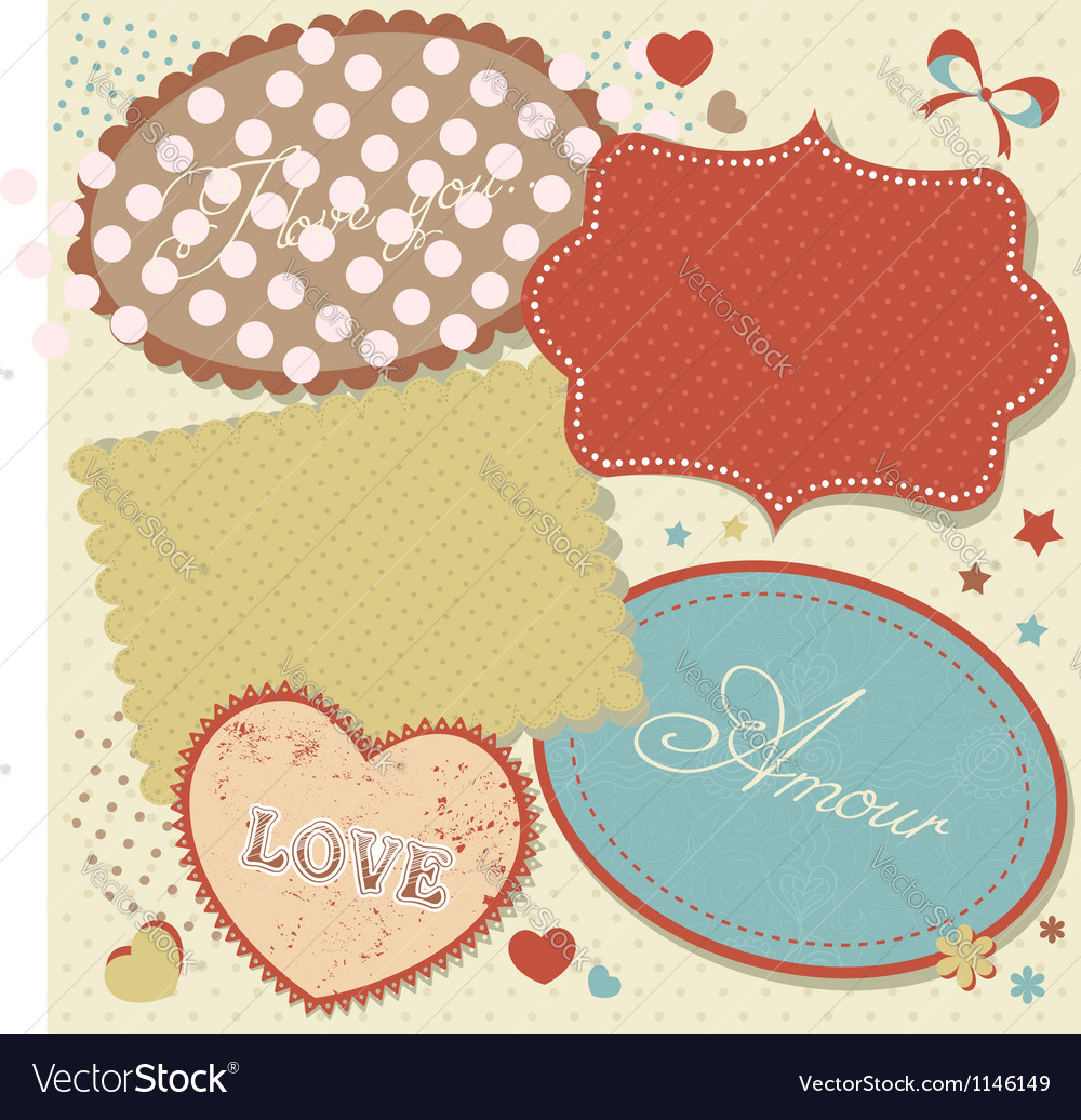 Retro romantic love stickers and tags vector | Price: 1 Credit (USD $1)