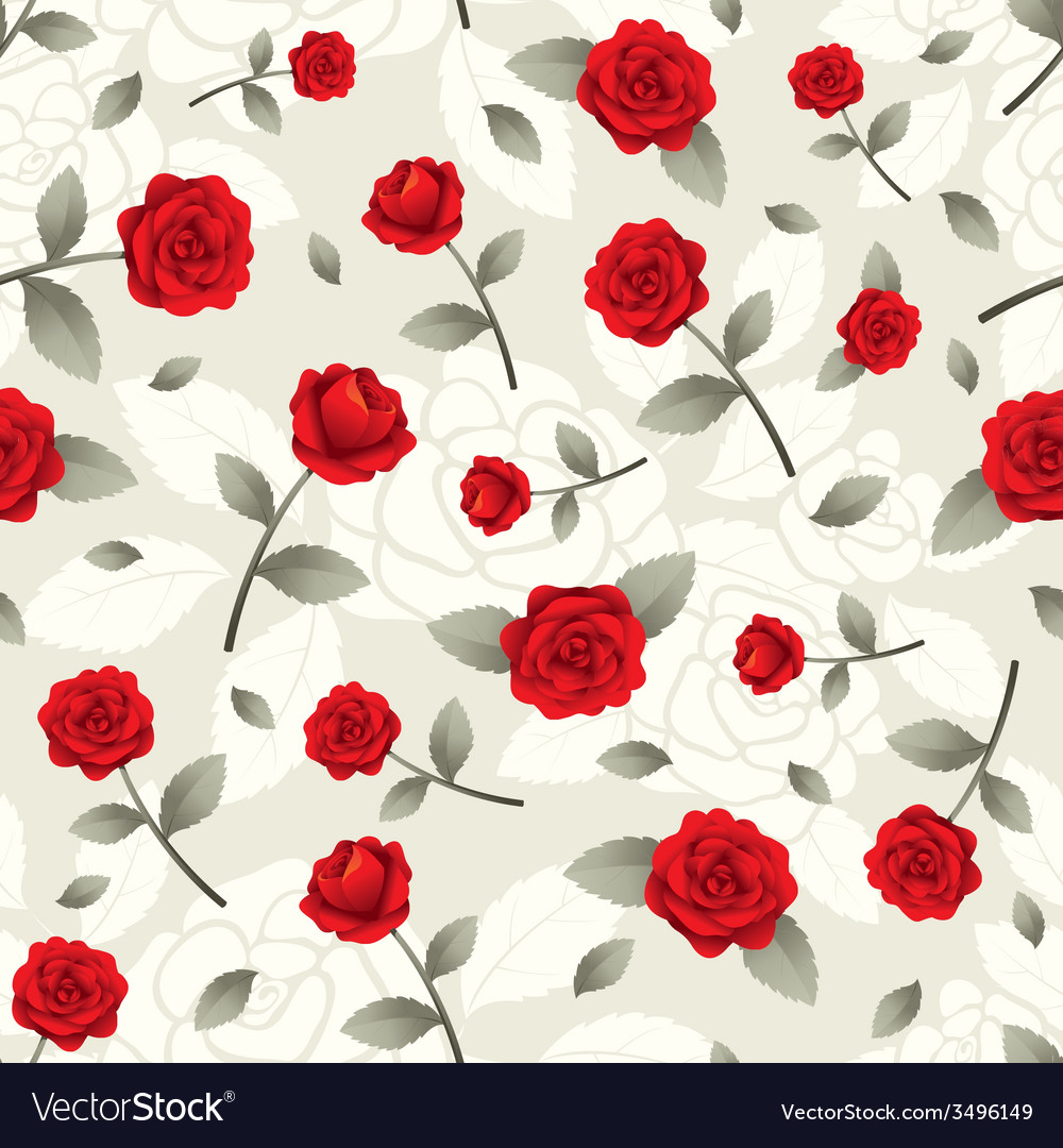 Roses vintage seamless pattern vector | Price: 1 Credit (USD $1)
