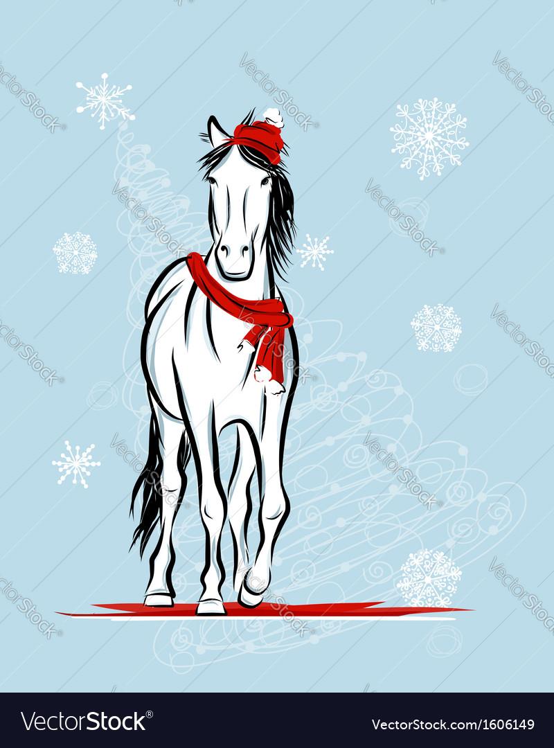 Santa horse sketch for your design symbol of 2014 vector | Price: 1 Credit (USD $1)