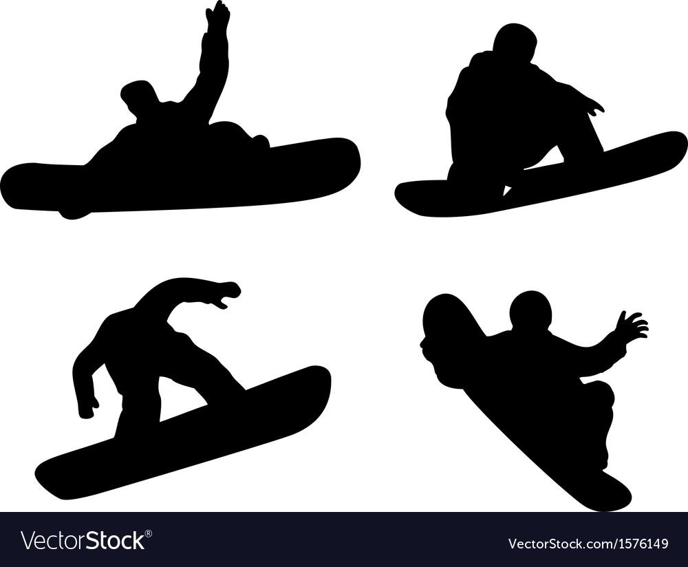 Snowboarding silhouette vector | Price: 1 Credit (USD $1)