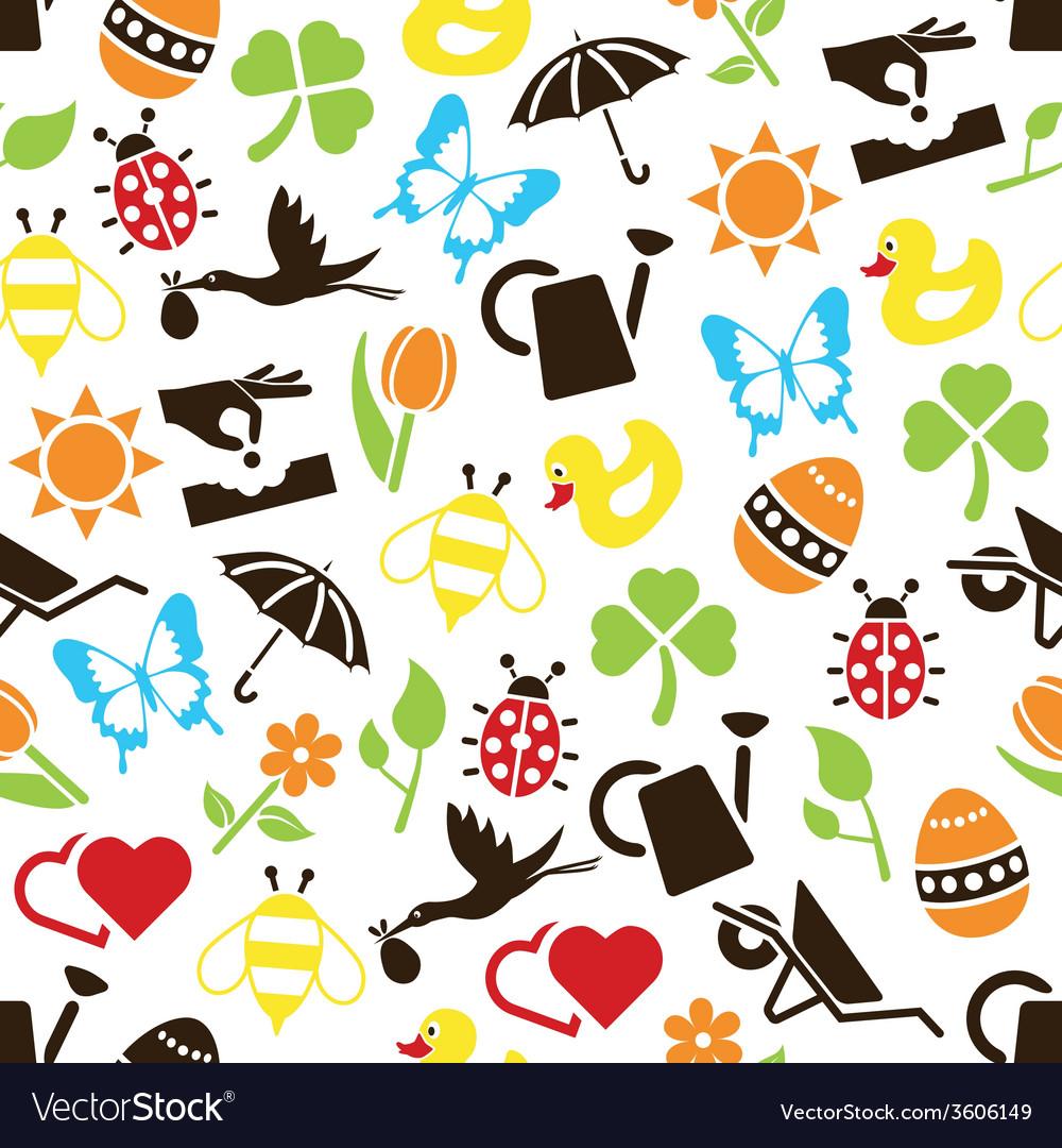 Spring seamless pattern vector | Price: 1 Credit (USD $1)