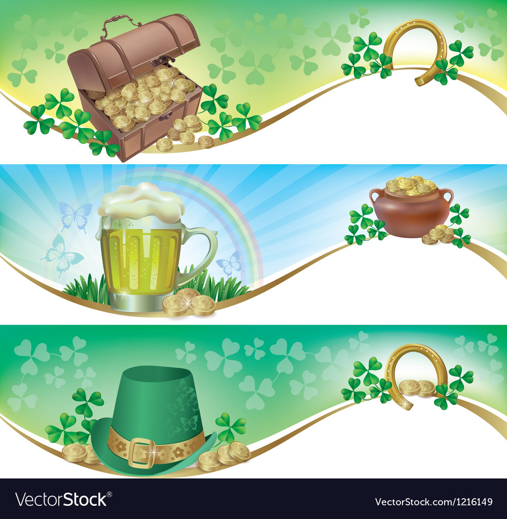 St patricks day horizontal banners vector | Price: 1 Credit (USD $1)