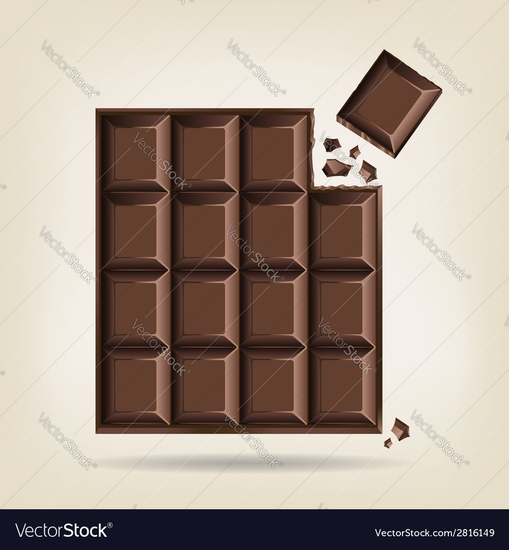 Unwrapped bar of chocolate vector | Price: 1 Credit (USD $1)