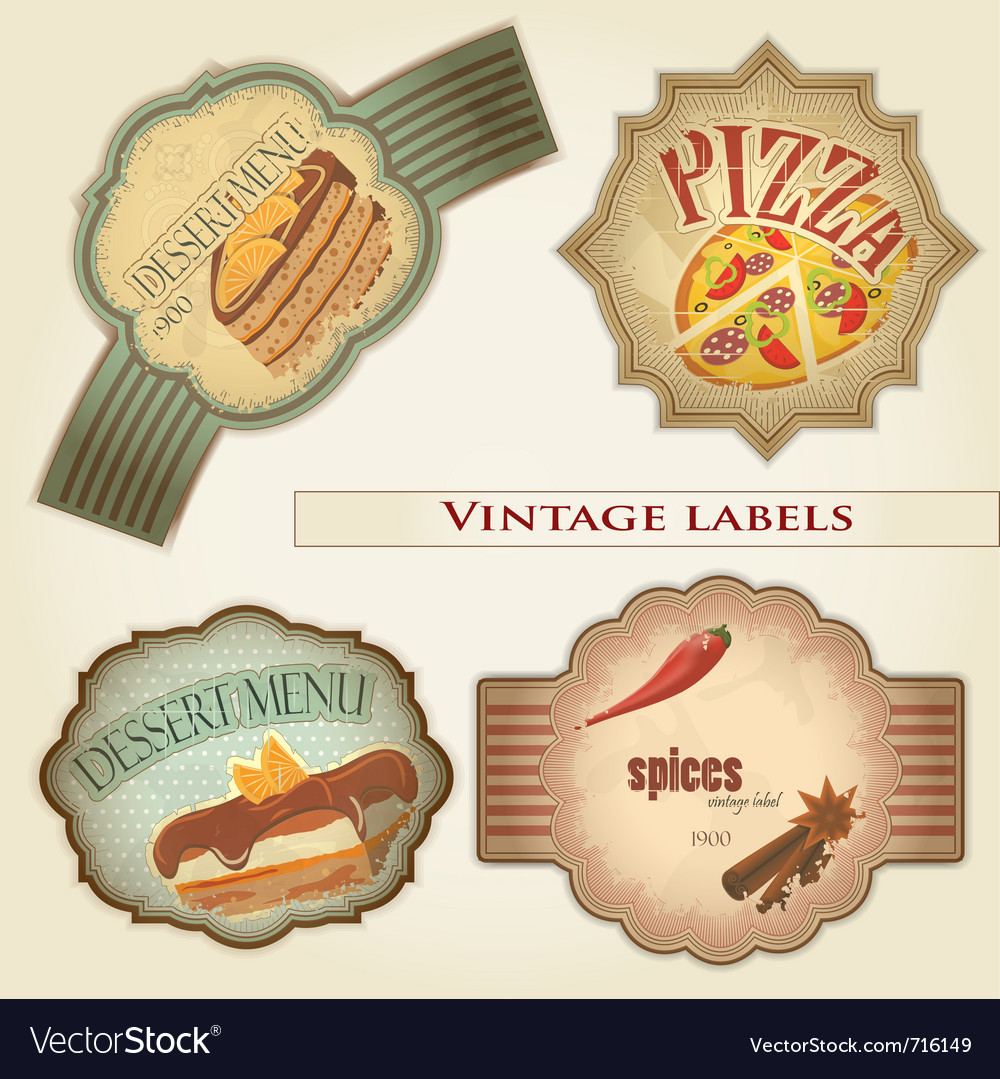 Vintage food labels set - vector | Price: 1 Credit (USD $1)
