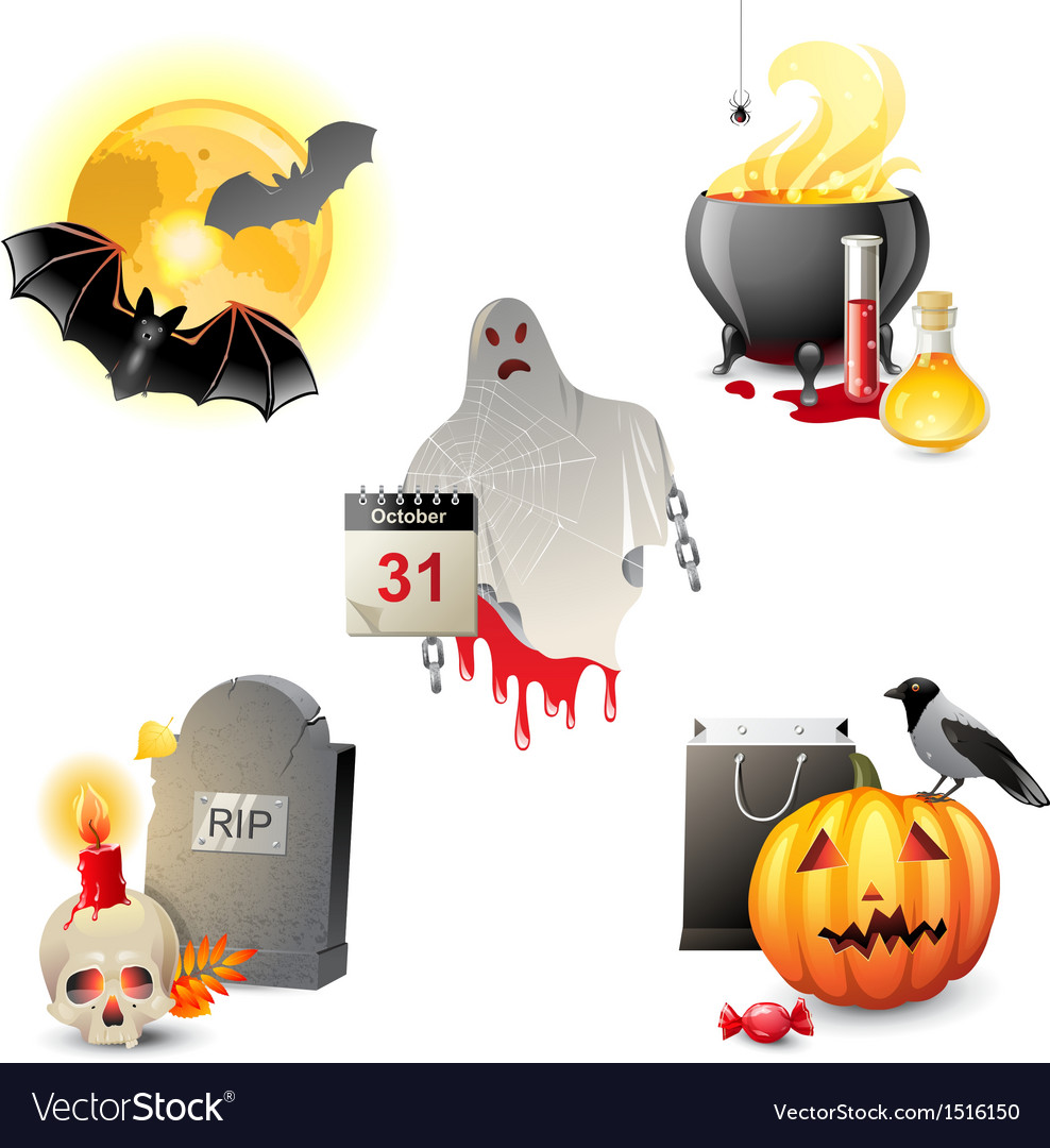 5 halloween icons vector | Price: 3 Credit (USD $3)