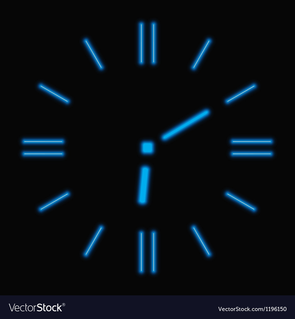 Abstract neon clock vector | Price: 1 Credit (USD $1)