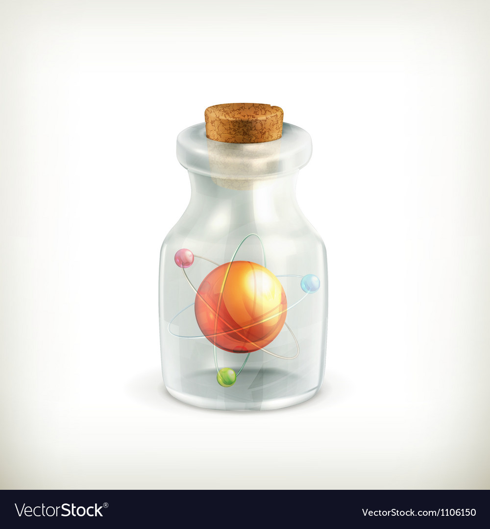 Atom in a bottle icon vector | Price: 1 Credit (USD $1)