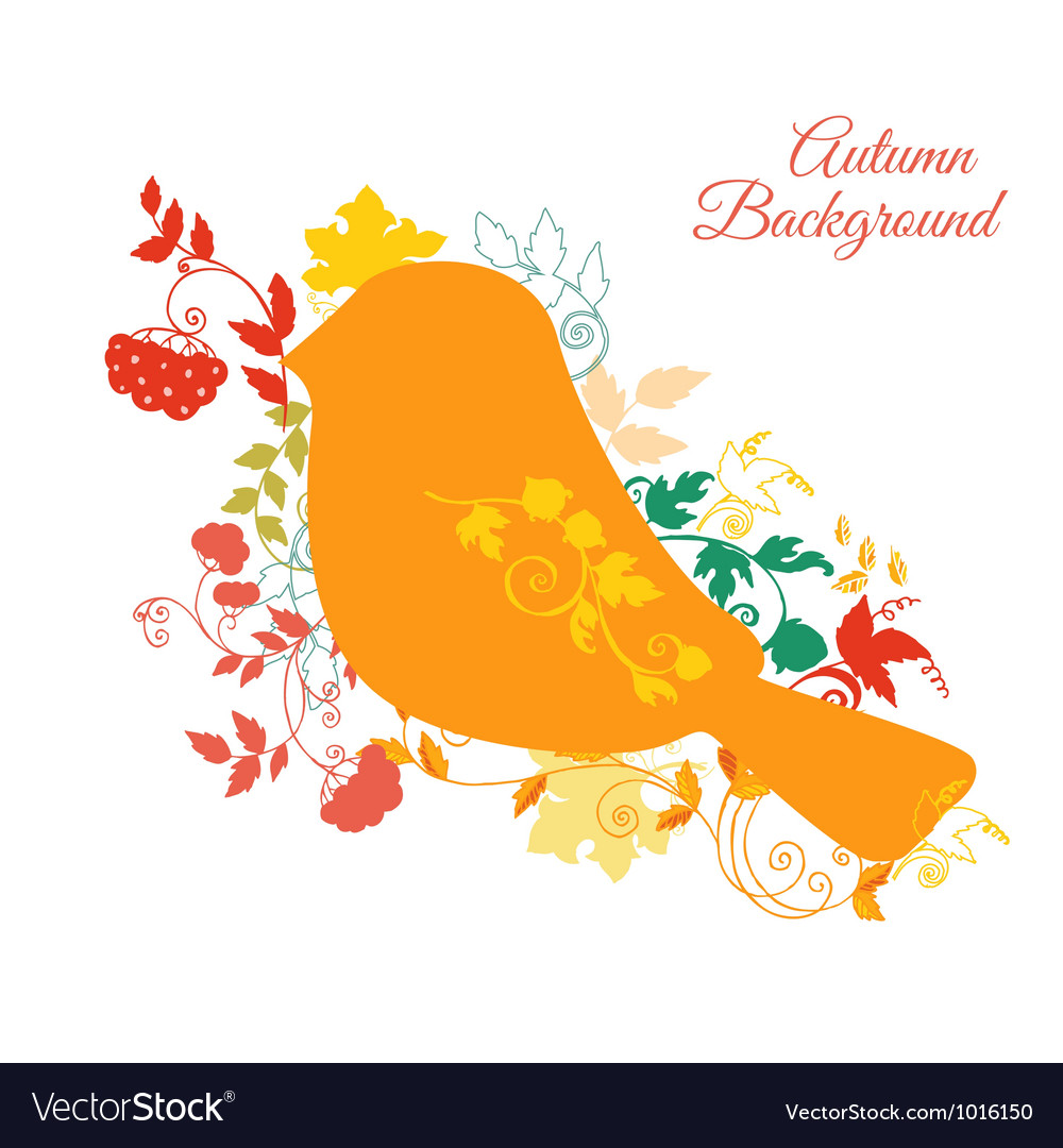 Autumn background - bird and autumn leaves vector | Price: 1 Credit (USD $1)