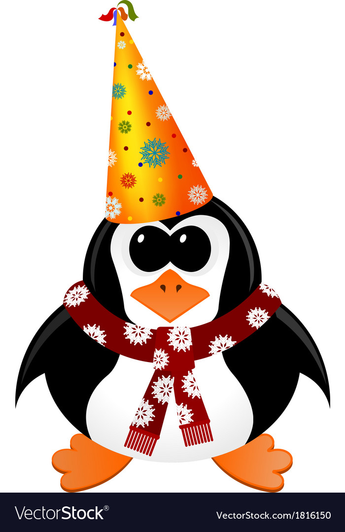 Cartoon penguin with party hat and scarf vector | Price: 1 Credit (USD $1)
