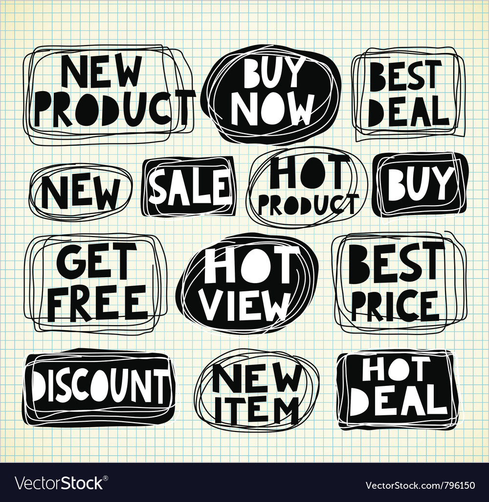 Discount promotion labels vector | Price: 1 Credit (USD $1)