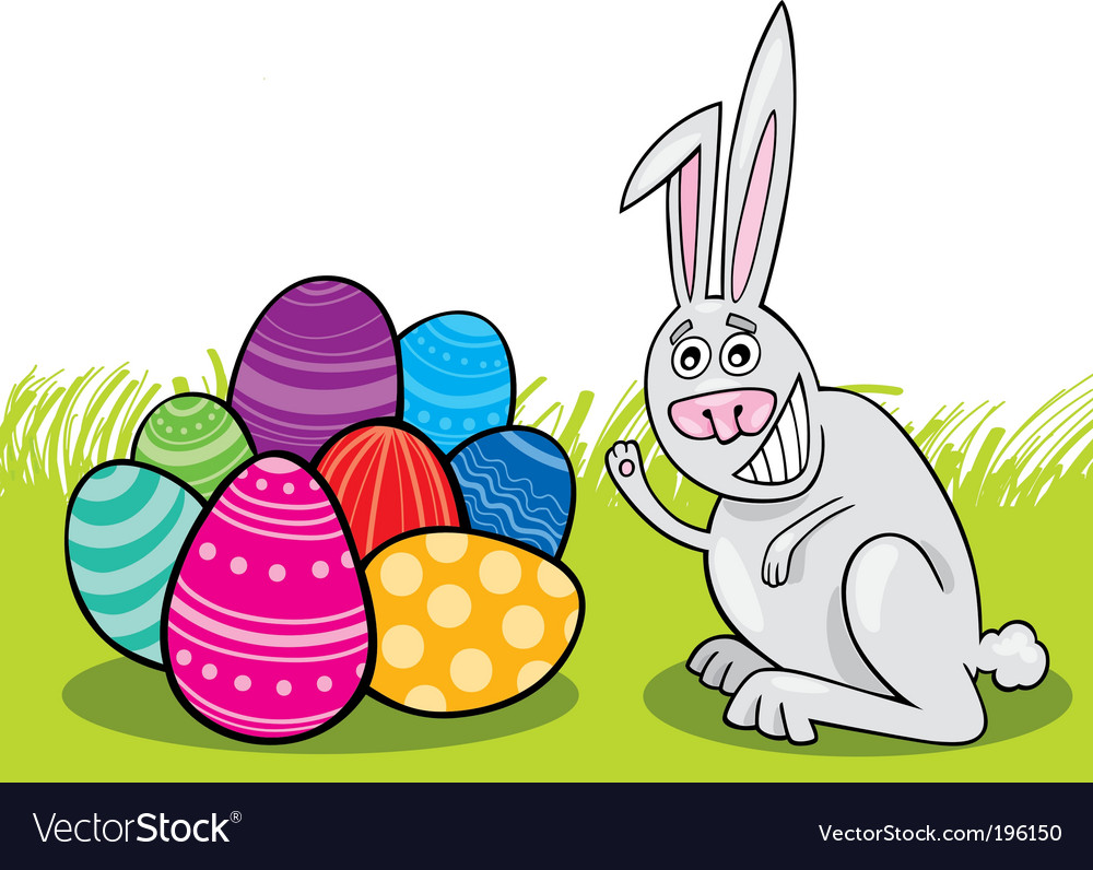 Easter bunny with painted eggs vector | Price: 1 Credit (USD $1)