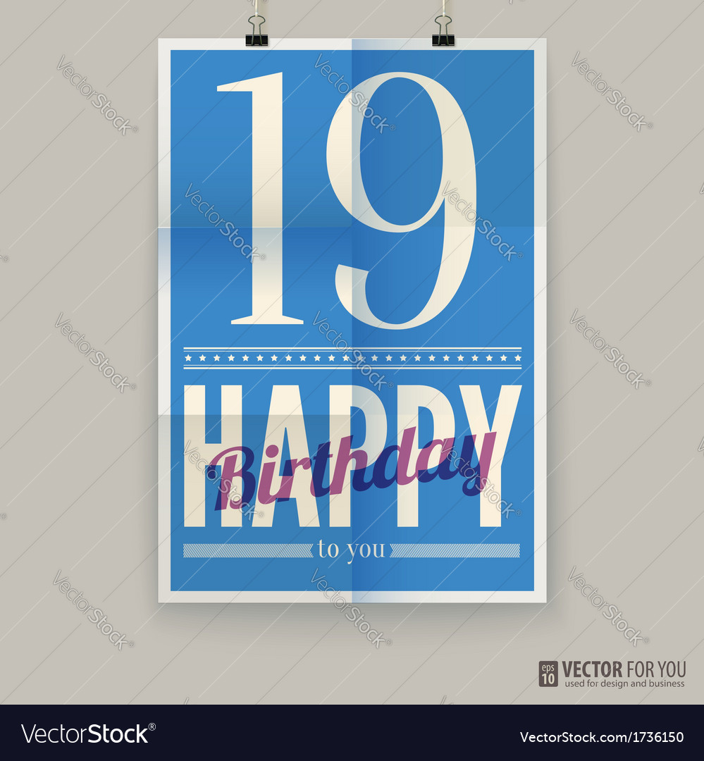 Happy birthday poster card nineteen years old vector | Price: 1 Credit (USD $1)