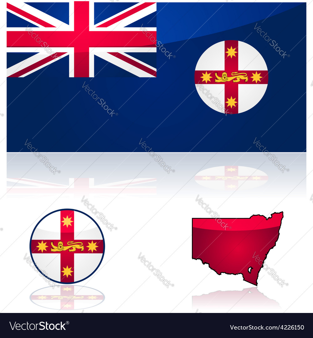 New south wales flag and map vector | Price: 1 Credit (USD $1)