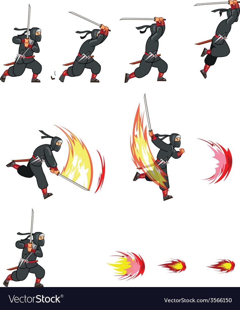 Ninja attack game sprite vector | Price: 1 Credit (USD $1)