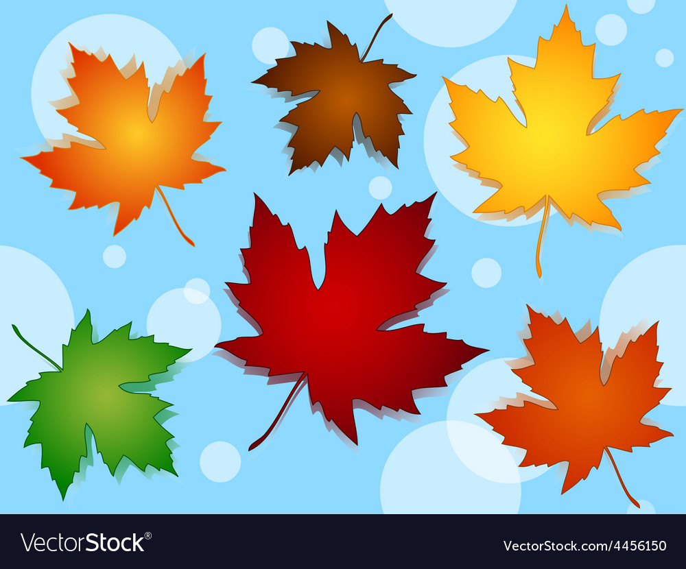 Seamless maple leaves fall colors pattern over vector | Price: 1 Credit (USD $1)