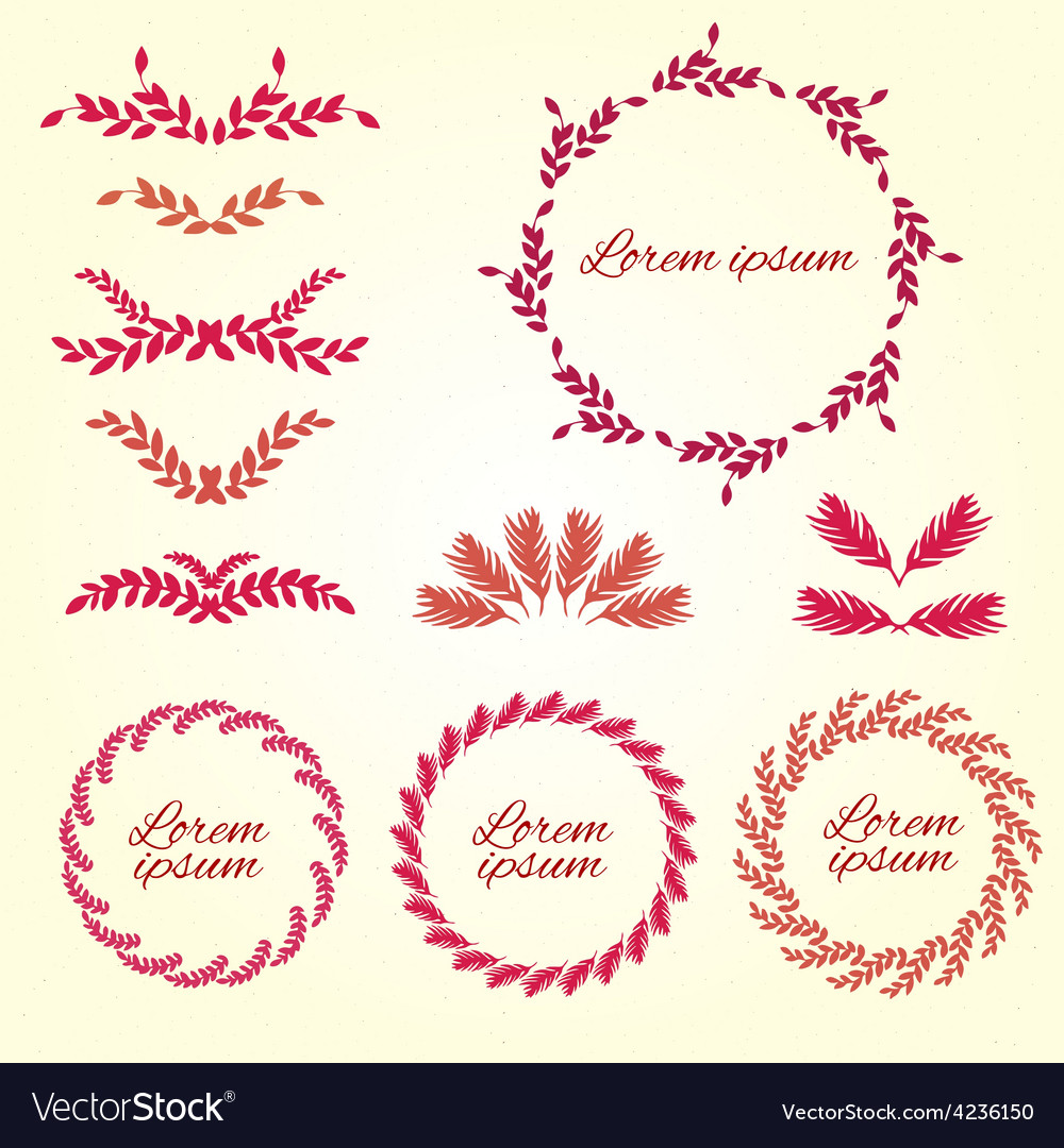 Set flower ornament design elements vector | Price: 1 Credit (USD $1)