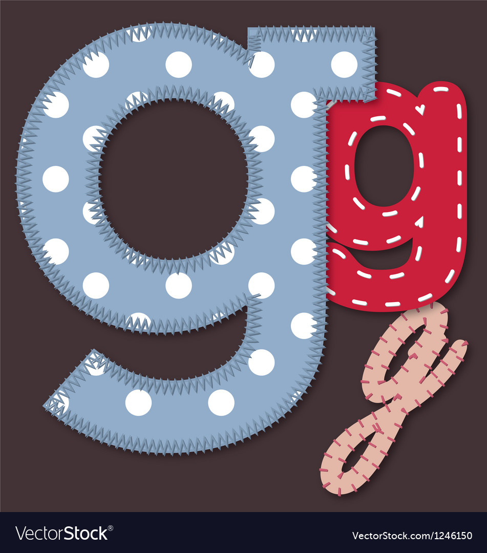 Set of stitched font - letter g vector | Price: 1 Credit (USD $1)