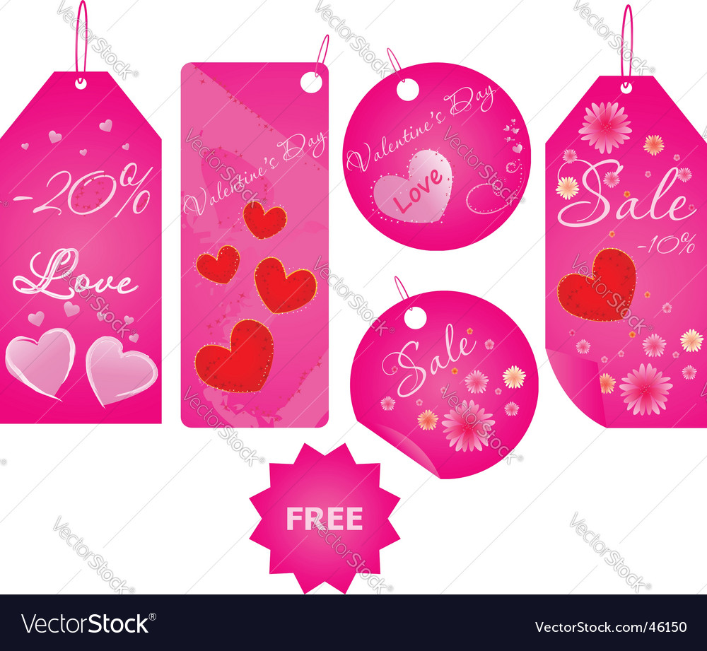 Set of valentine's day labels vector | Price: 1 Credit (USD $1)