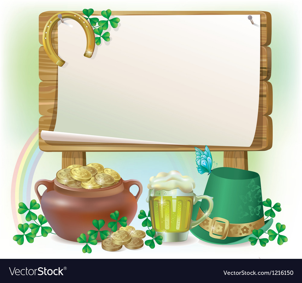 St patricks day wooden board vector | Price: 1 Credit (USD $1)