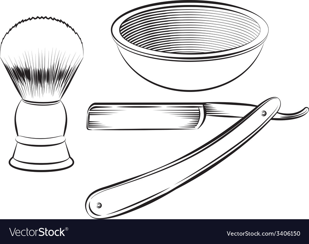 Vintage barber shaving set vector | Price: 1 Credit (USD $1)