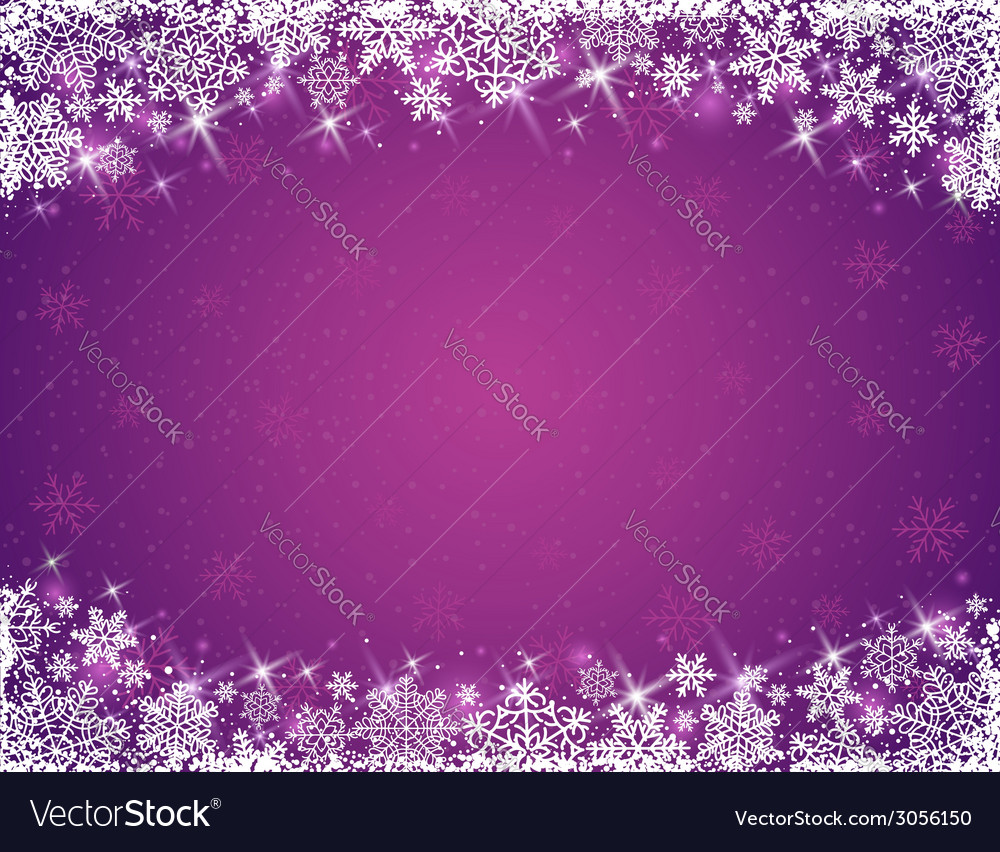 Violet background with frame of snowflakes vector | Price: 1 Credit (USD $1)