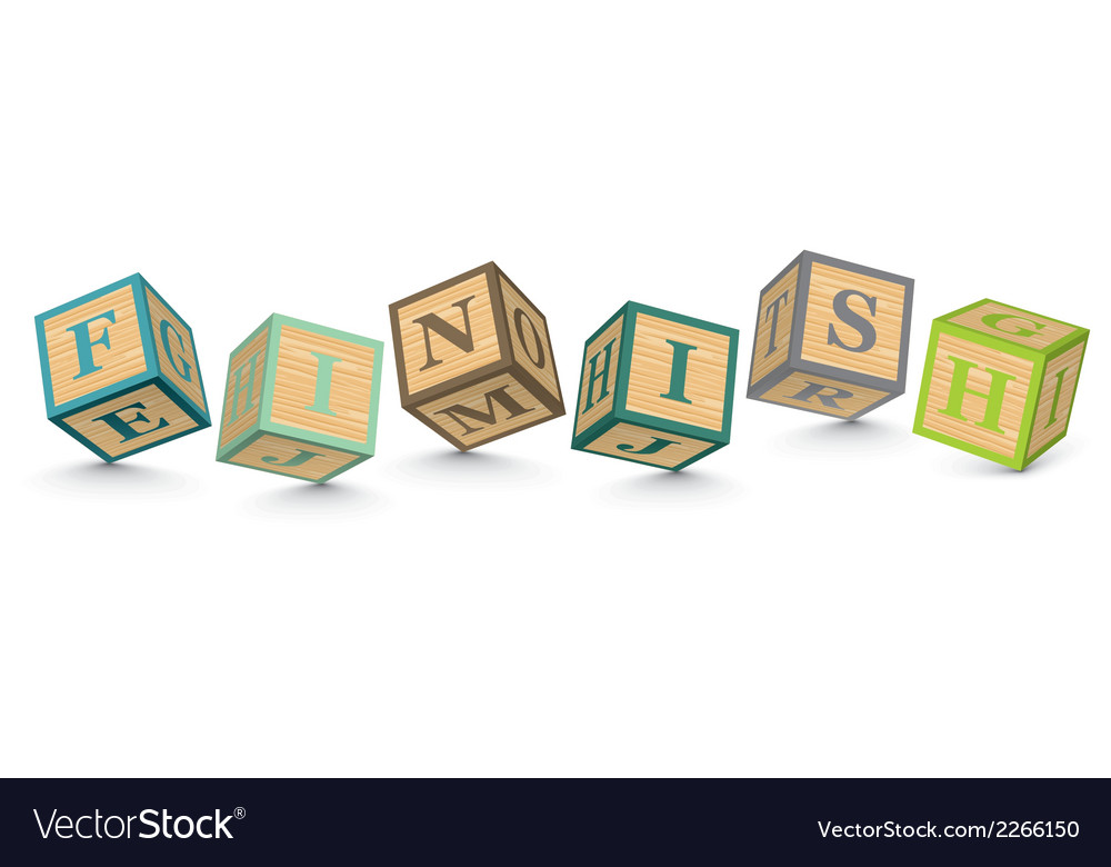 Word finish written with alphabet blocks vector | Price: 1 Credit (USD $1)