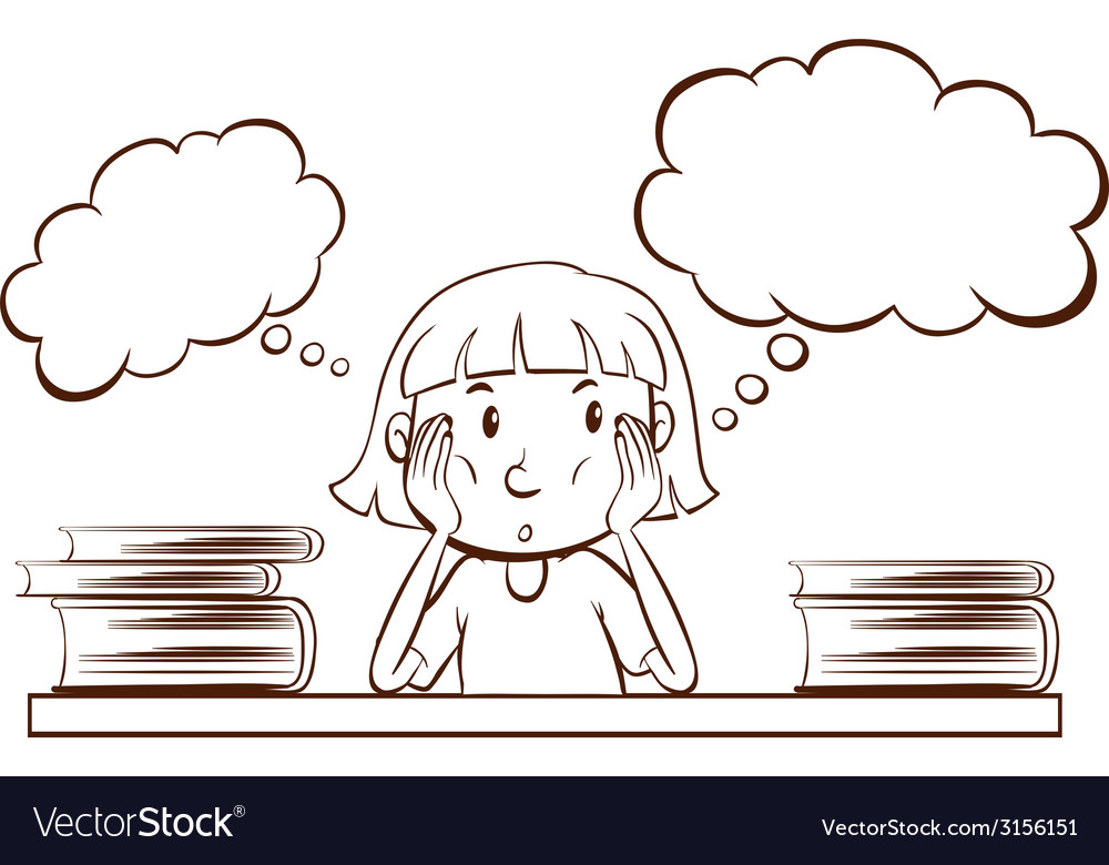 A young girl with empty thoughts vector | Price: 1 Credit (USD $1)