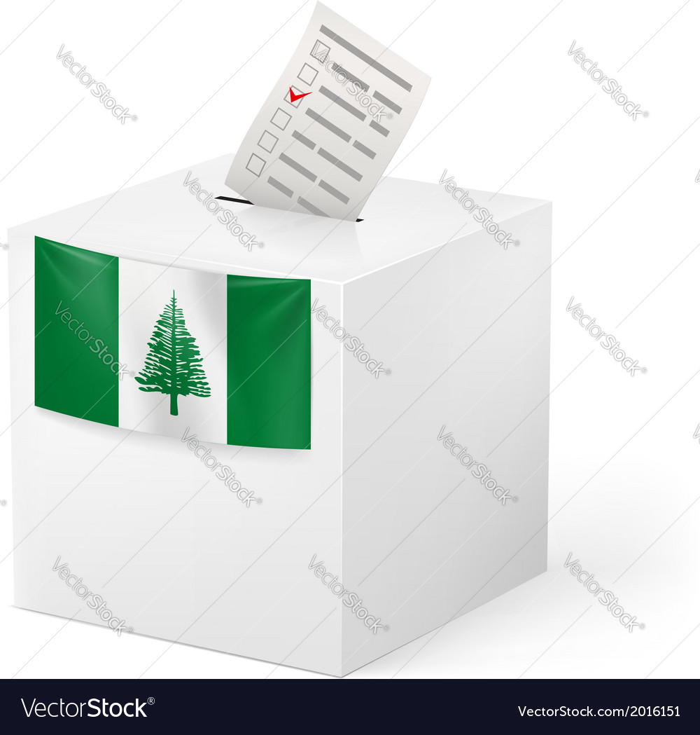 Ballot box with voting paper norfolk island vector | Price: 1 Credit (USD $1)