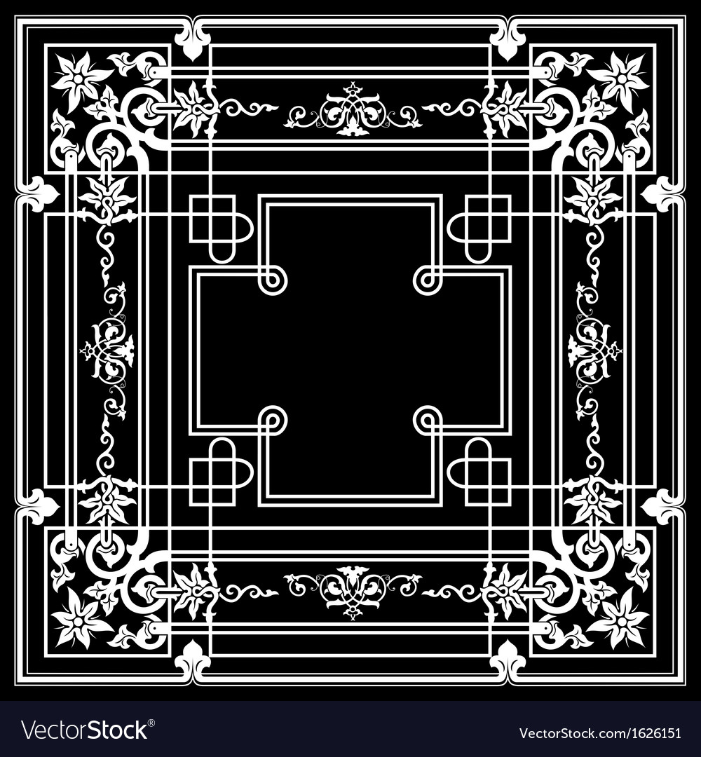 Black ornate frame quad vector | Price: 1 Credit (USD $1)