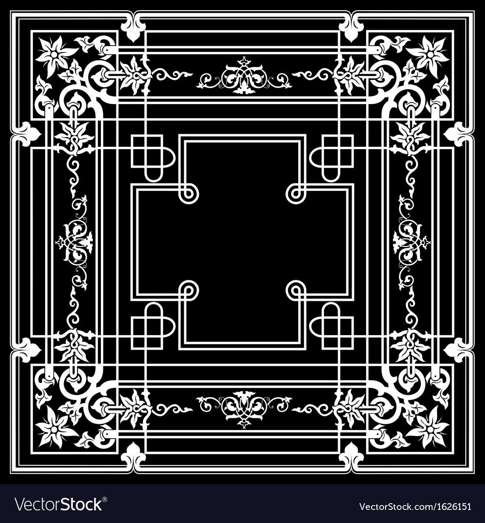 Black ornate frame quad vector | Price: 1 Credit (USD $1)