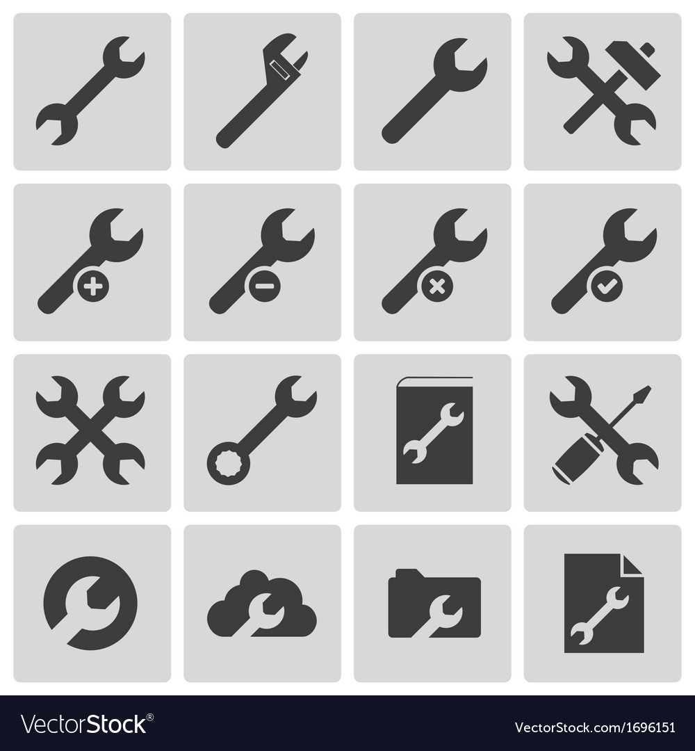 Black settings wrench icons set vector | Price: 1 Credit (USD $1)
