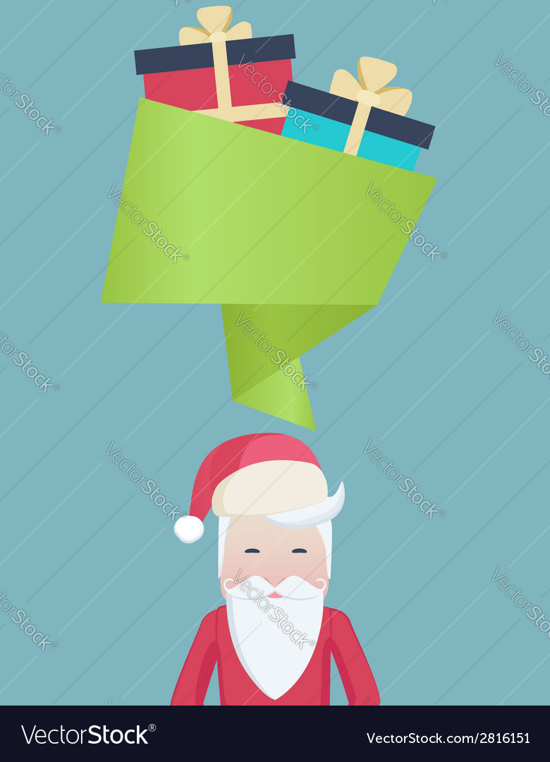 Cute santa with a speech bubble and gifts vector   Price: 1 Credit (USD $1)