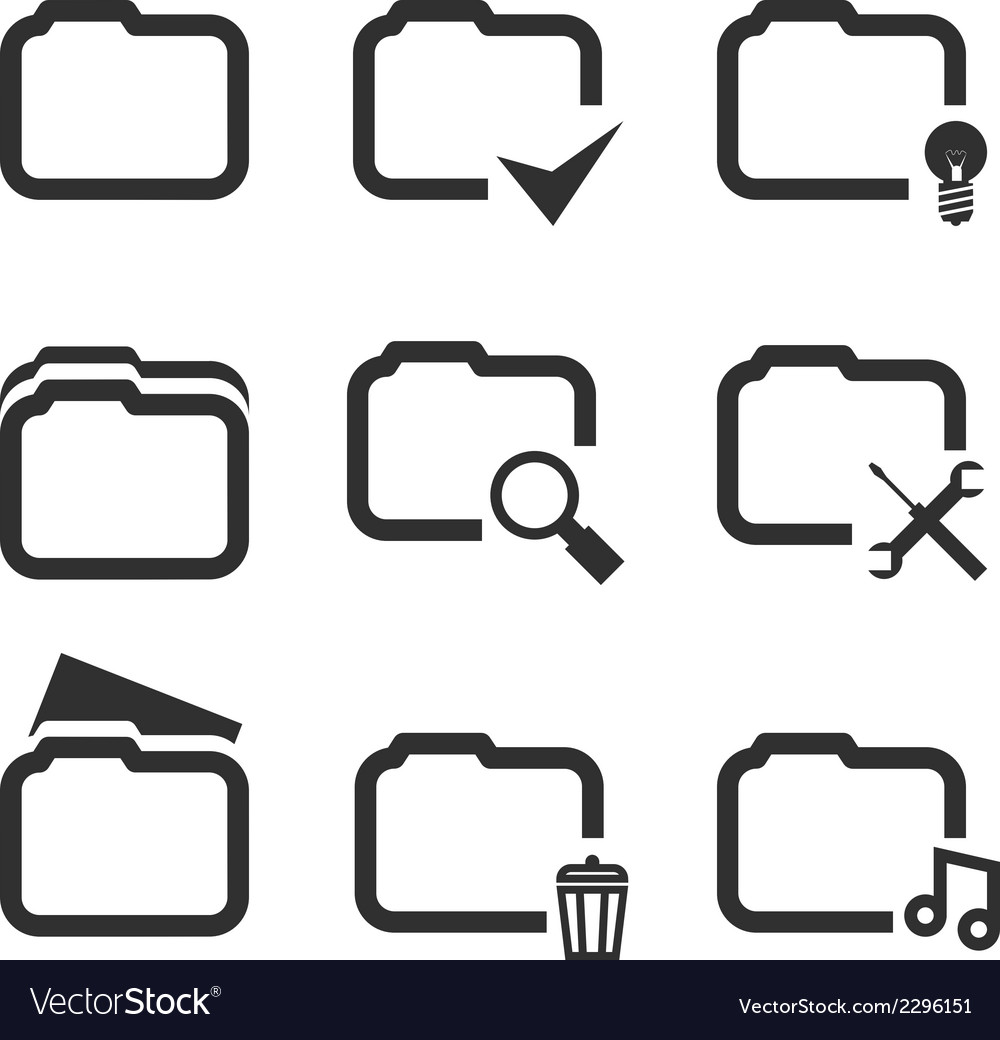Folder silhouette icons set isolated on white vector | Price: 1 Credit (USD $1)