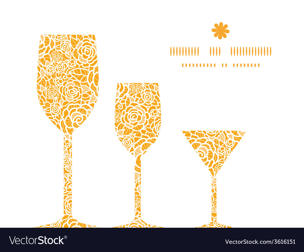 Golden lace roses three wine glasses silhouettes vector | Price: 1 Credit (USD $1)