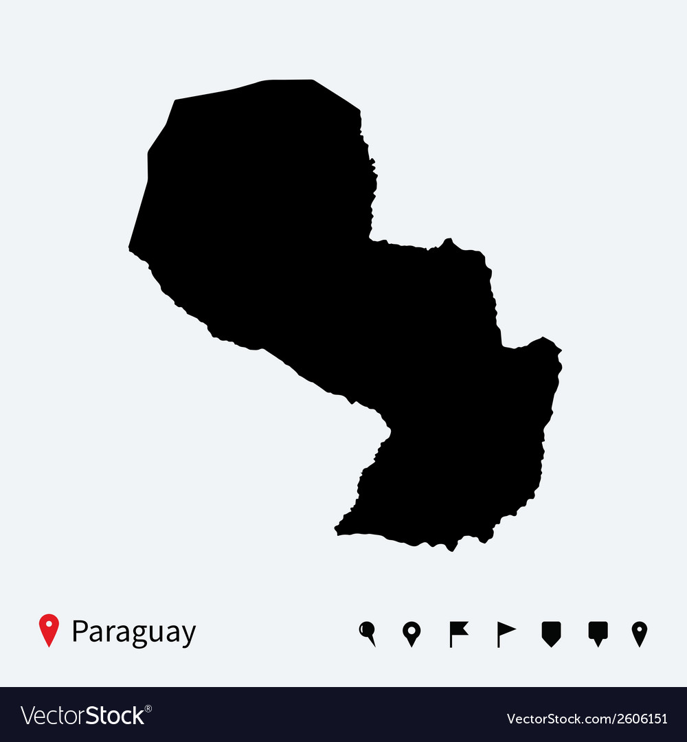 High detailed map of paraguay with navigation pins vector | Price: 1 Credit (USD $1)