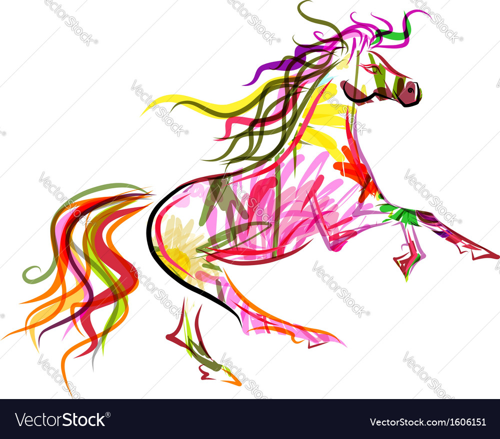 Horse sketch colorful for your design symbol of vector | Price: 1 Credit (USD $1)