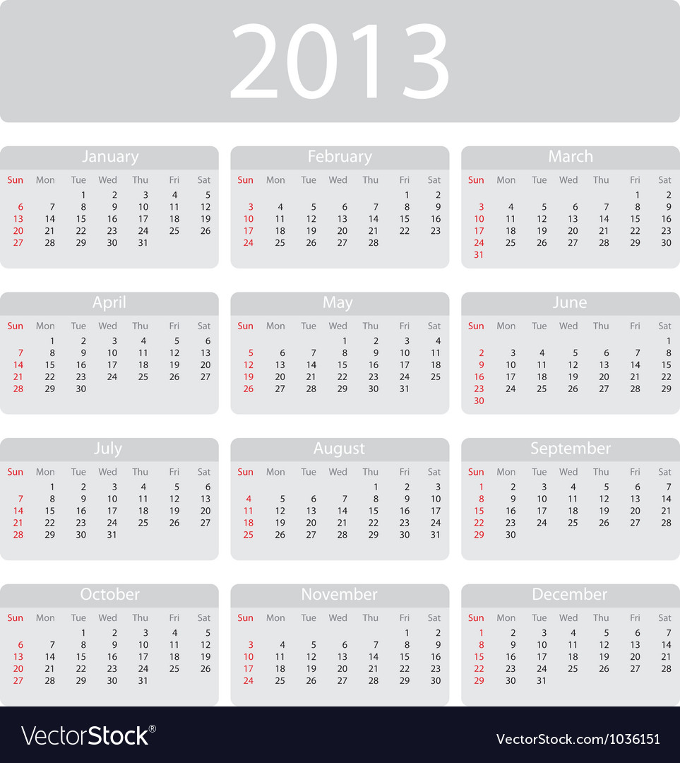 Minimalistic 2013 calendar vector | Price: 1 Credit (USD $1)