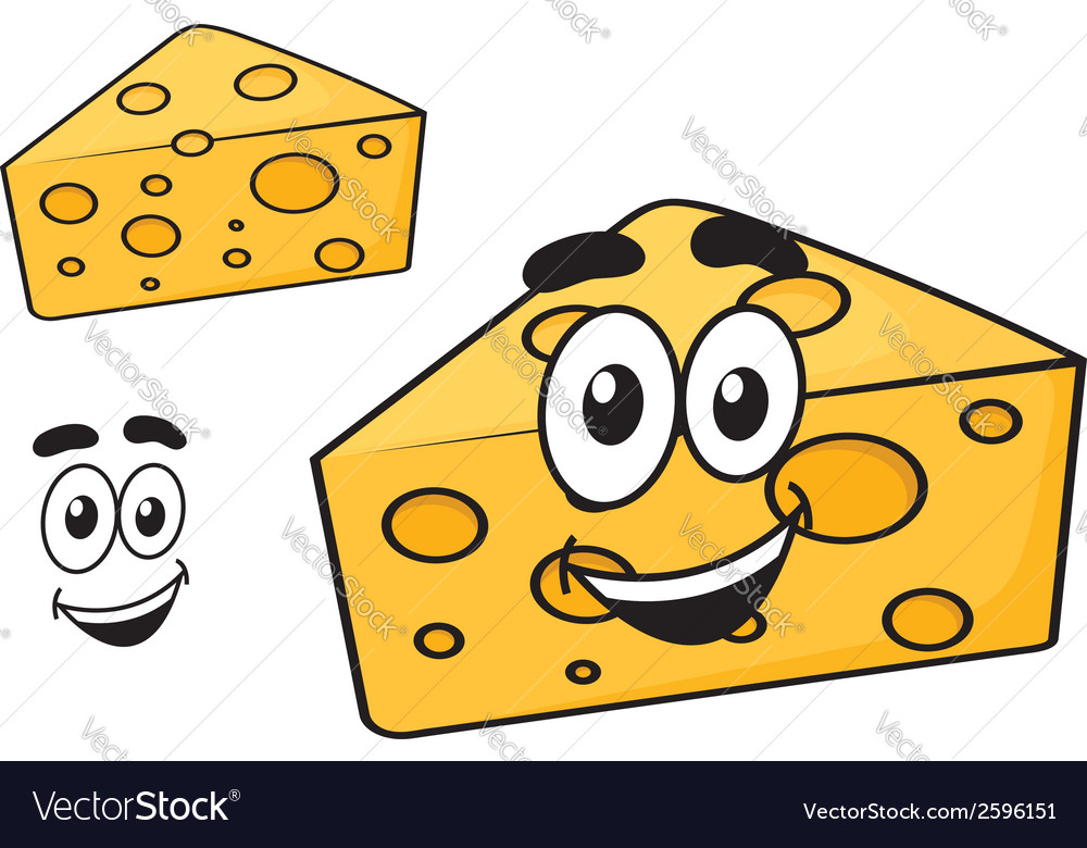 Smiling happy cartoon wedge of cheese vector | Price: 1 Credit (USD $1)