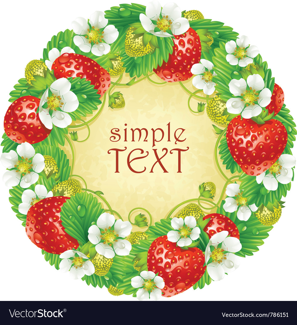 Strawberry circle frame red berry vector | Price: 3 Credit (USD $3)
