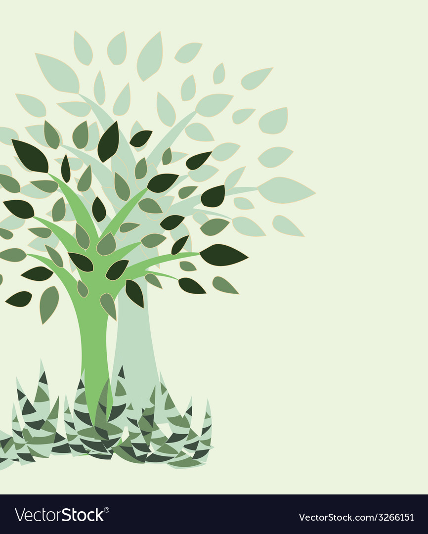 Tree and grass - vector | Price: 1 Credit (USD $1)